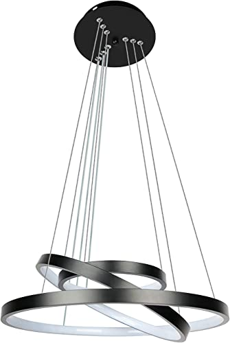Modern Black LED Chandelier with 3-Ring Black Adjustable Hanging Pendant Light Ceiling Light Fixtures for Living Room Dining Room Kitchen Island Bedroom 21.6 inches Chandelier