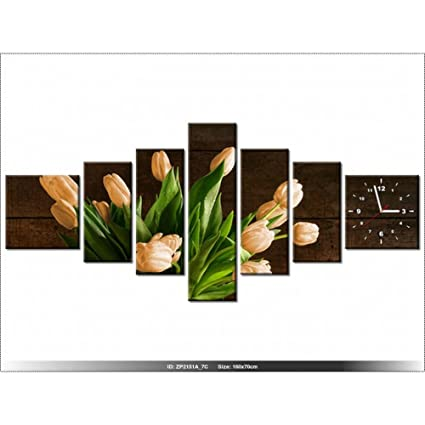 Art-Gallery XXL – 160 x 70 cm – oxidado tulipanes – Reloj de pared