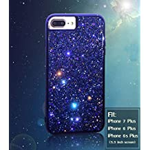 iPhone 7 Plus Case Shiny Glitter Sequin Hard Shell + TPU Rubber Gel Case Cover For Apple iPhone 7 Plus 5.5 inch (Blue)