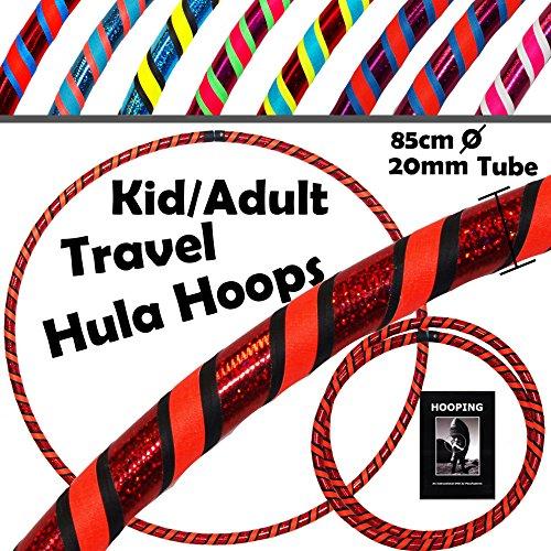 PRO KIDS 3-COLOR Hula Hoops (UltraGrip/Glitter) + DVD - TRAVEL Hoop + Strap (85cm/33.4