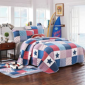 Lanqinglv 100% Baumwolle Tagesdecke 200x230cm Kinder Sterne Muster Patchwork Bettüberwurf Gesteppt Tagesdecke Quilt mit Kisse