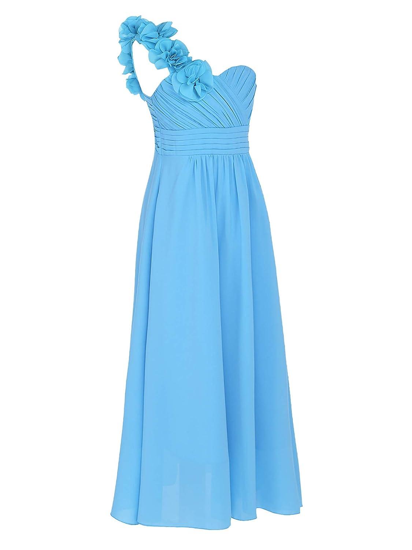 YiZYiF Vestido Fiesta Largo Niñas Vestidos Ceremonia Elegante Vestido Princesa Boda Hombros con Flores Traje Maxi Dama de Honor Comunión 4-14 Años