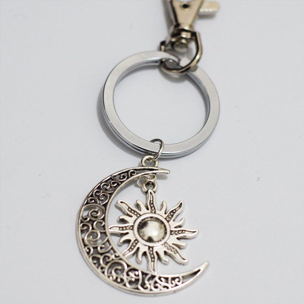 Gorgeous Llavero sol Plata Llavero Regalo /único llavero personalizado regalo sol diario clave Cadena plata luna Mimi llavero dise/ño de luna