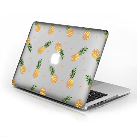 hot sale online 6e698 38cec Rubberized Hard Case for Macbook Air 13 Inch model number A1369 and A1466,  Pineapples design with clear bottom case, Come with Keyboard Cover