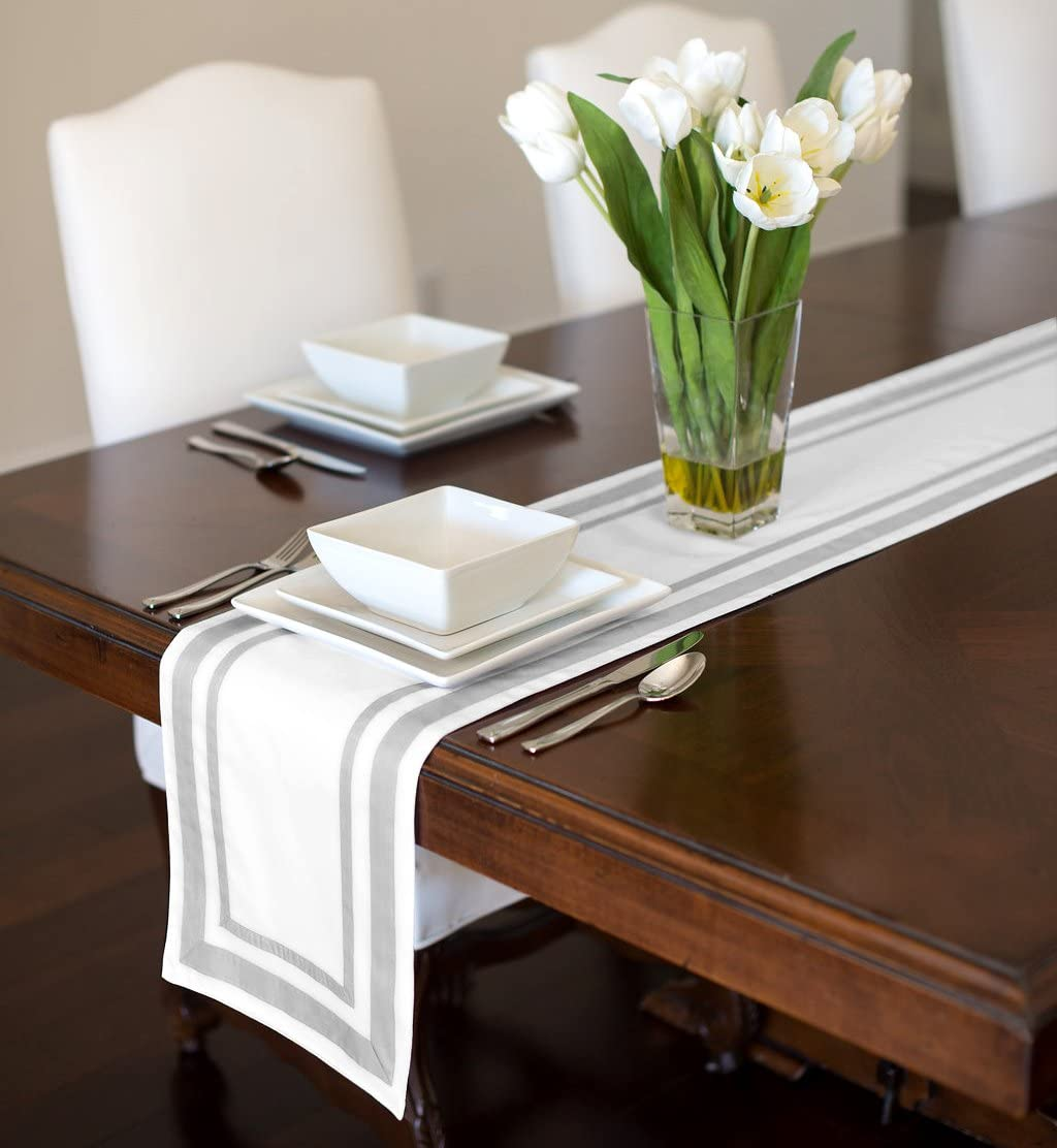 A LuxeHome White and Grey Modern Contemporary Embroidered Stripe Table Runner Mat Topper