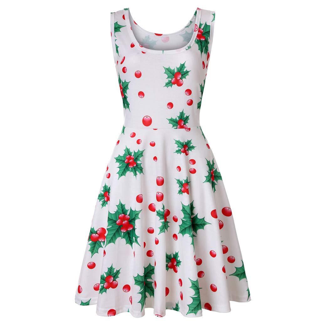 KYLEON Women's Midi Dresses Boho Floral Printing Sleeveless O-Neck A Line Casual Beach Summer Party Flared Tank Dress Green