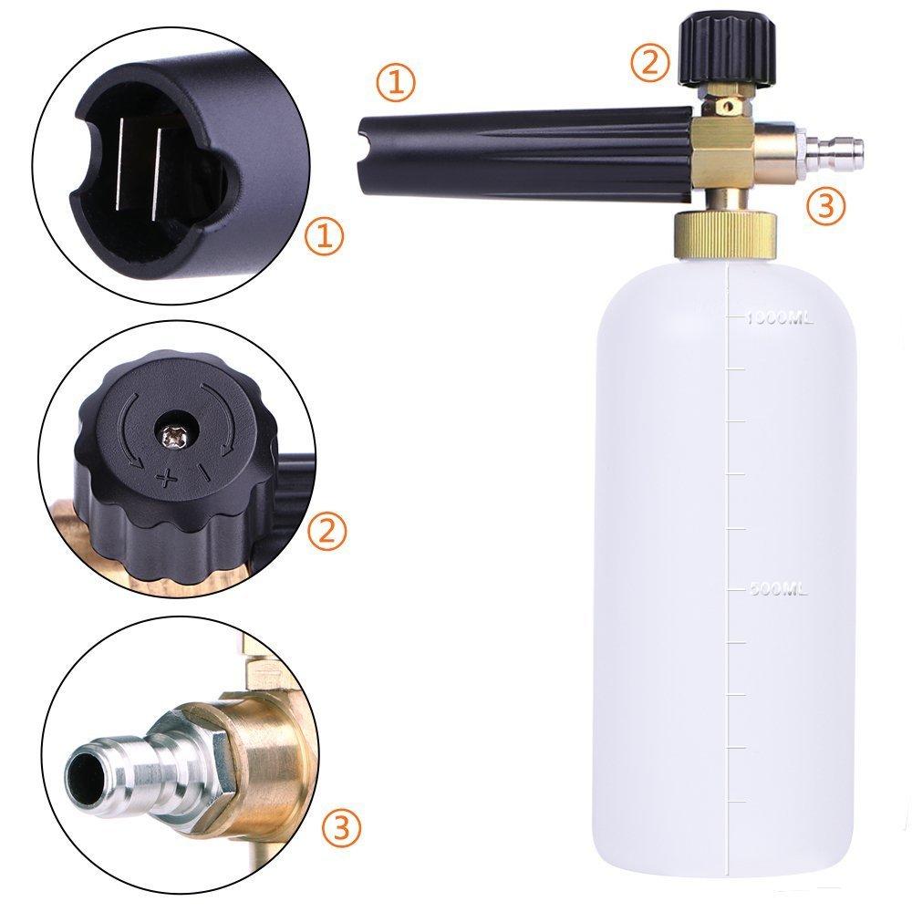 AYOGU Foam Cannon Adjustable Snow Foam Lance with 1/4 Quick Connector Foam Blaster for Pressure Washer Gun 1 Liter Bottle,5 Pressure Washer Nozzles for Cleaning (Foam Cannon with 5 Nozzles) by AYOGU (Image #3)