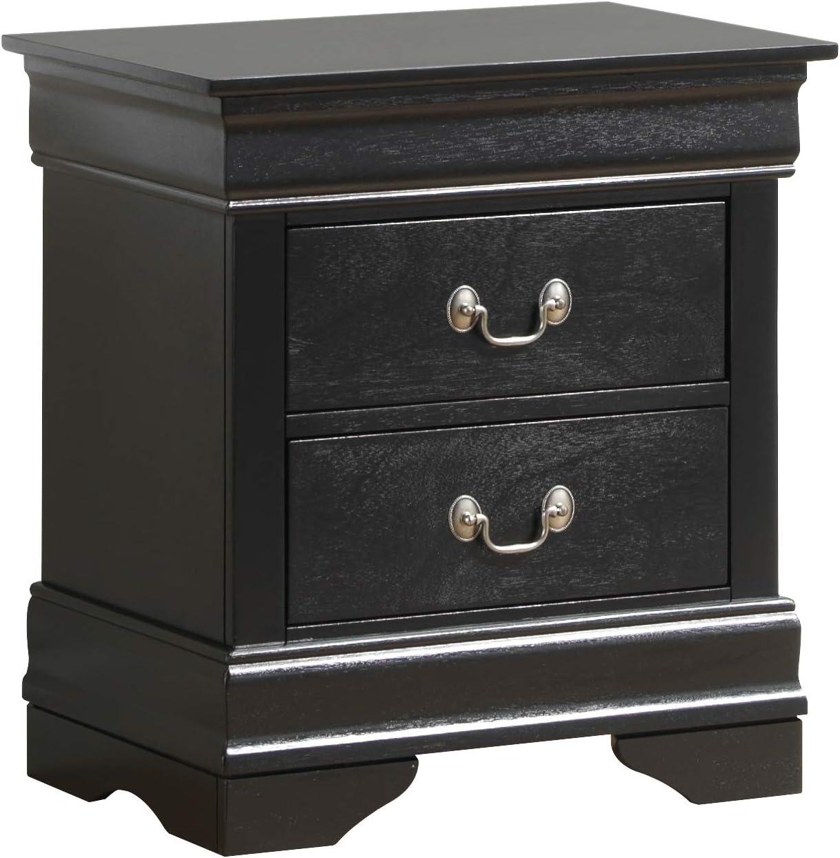 Glory Furniture Louis Phillipe , Black Nightstand, 24