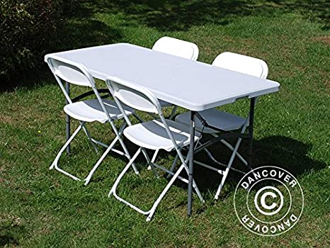 Dancover Fiesta-Paket acxtable (150 cm) y 4 sillas Plegables ...