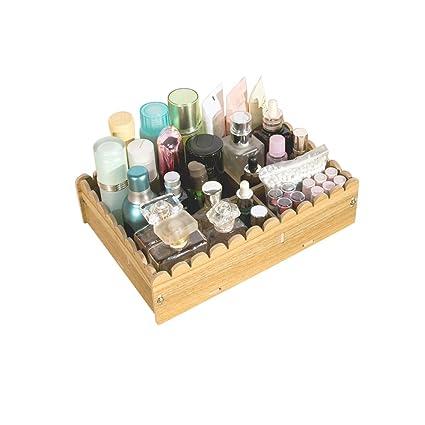 Maquillaje organizador caja de almacenamiento de madera encimera escritorio pendientes collares joyería Caso Hogar Escritorio Cajas