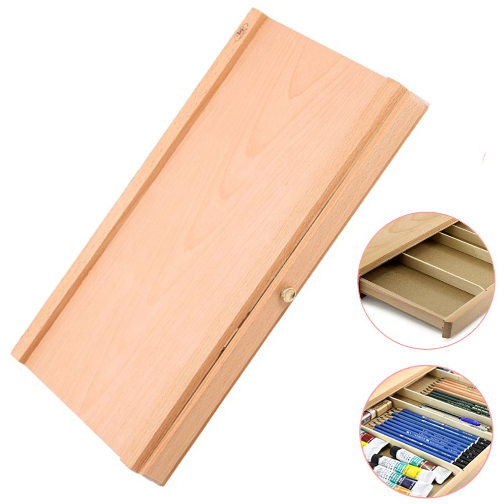 Beech Wood Single Layer Divided Drawer Sketch Box Wood Color Olymstore