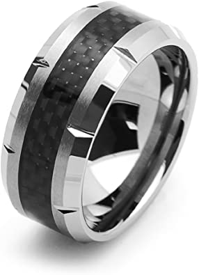 Double Accent 8MM Comfort Fit Tungsten Carbide Wedding Band Carbon Fiber Inlaid Beveled Ring 7 to 14