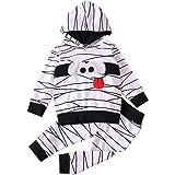 WANGSCANIS Juego de 2 piezas de ropa de Halloween para niño y niña, diseño de rayas blancas con estampado de dibujos…
