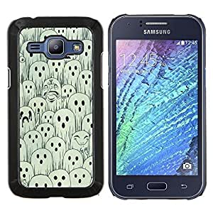 Stuss Case / Funda Carcasa protectora - Blanco Negro Spooky Halloween - Samsung Galaxy J1 J100