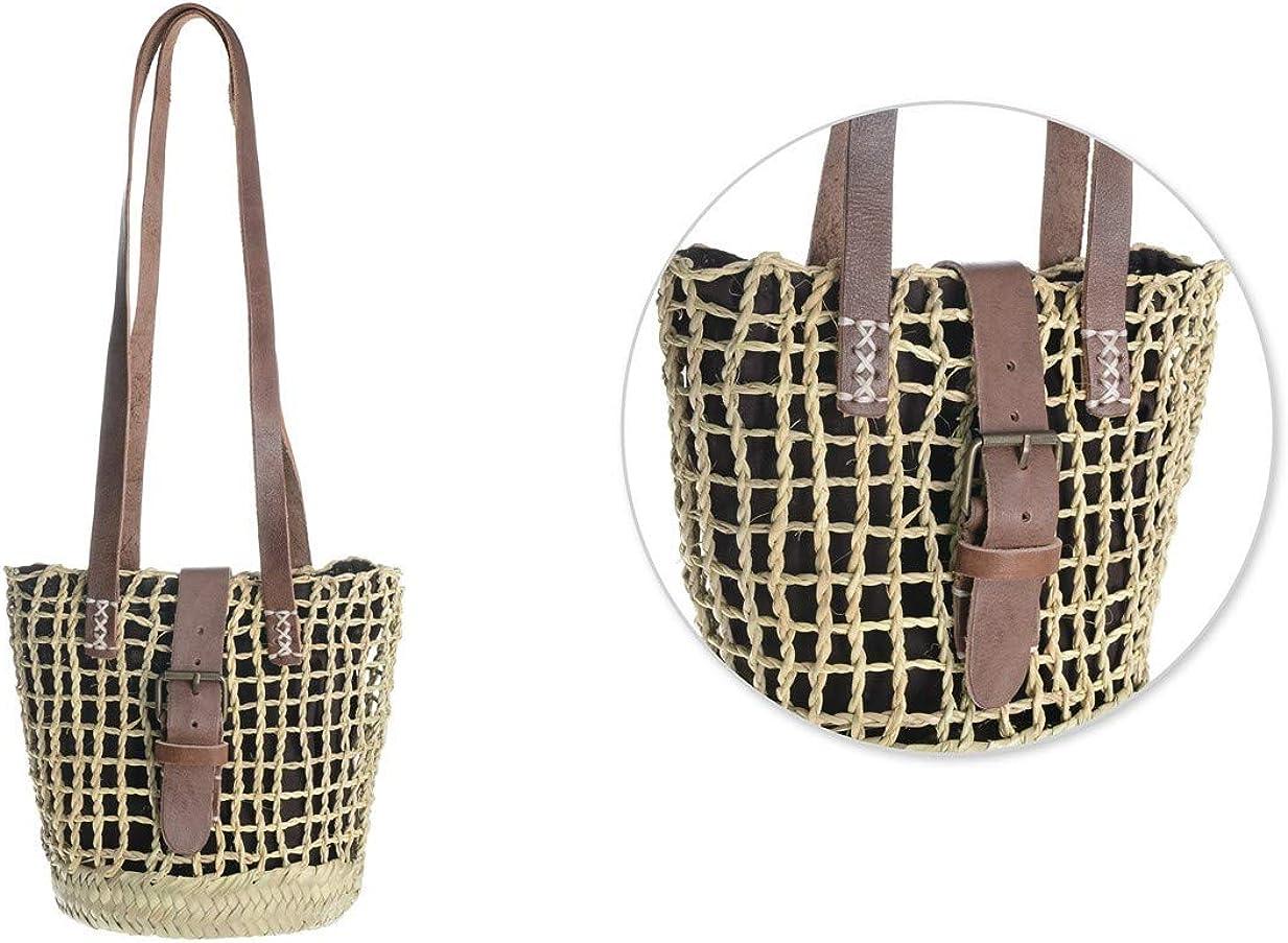 Afrikan Bags - Bolso Capazo de Palma Entorchada | Bolso de Palma Entorchada de Base Oval con Asa Bandolera y Hebilla - 21 x 14 x 21 cm