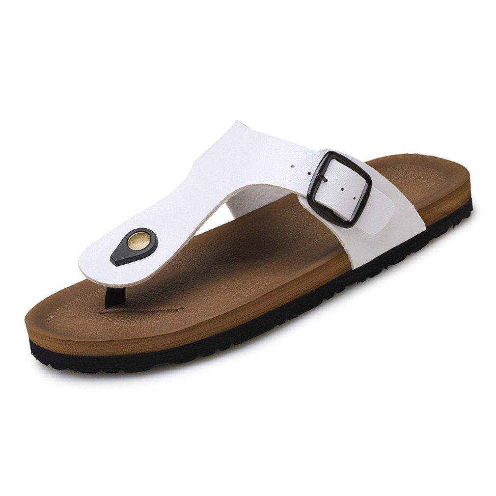Amazon.com: Pu Leather Sandals Men Black Brown Flip Flops Casual Flat Sandals Summer Beach Slipper Men Comfort: Sports & Outdoors