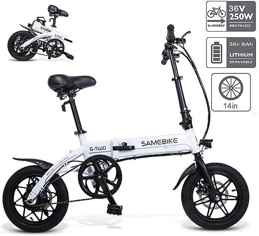 Braveking Bicicleta Electricas Plegables, Bicicleta Eléctrica Plegable con Luz LED Frontal Batería De Iones De Litio De Gran Capacidad (36V 250W 8AH) Motor Sin Escobillas, para Adultos,Blanco: Amazon.es: Hogar