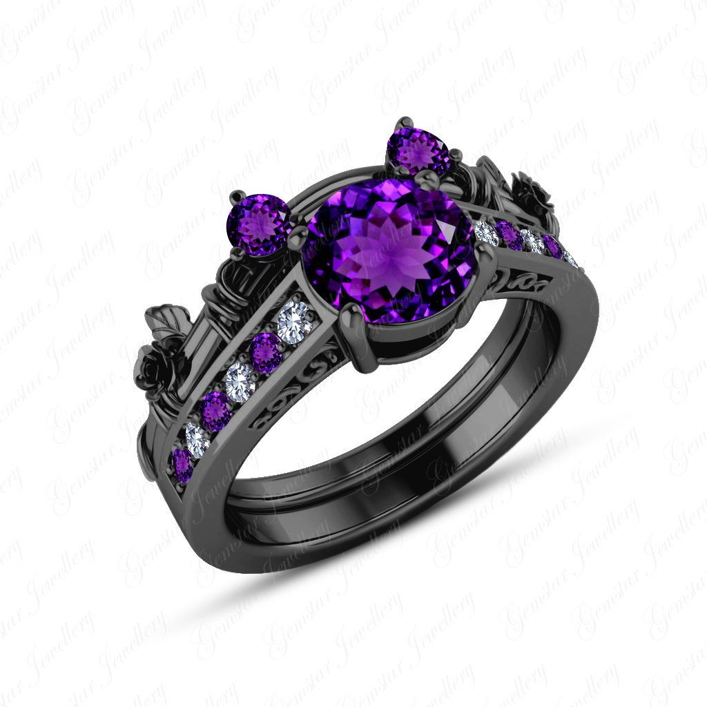 Gemstar Jewellery Round Purple Amethyst 18K Black Gold Finishing Engagement Mickey Mouse Ring Bridal Set GRBB_0003_AMEWD
