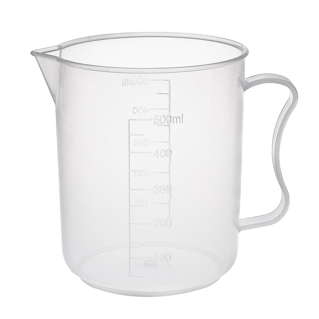 sourcingmap Laboratory Clear White PP 500mL Measuring Cup Handled Beaker a18031400ux0084