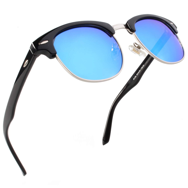 SUNIER Semi Rimless Polarized Sunglasses Women Men Retro Sun Glasses SR001 by Sunier
