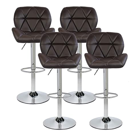 Astounding Puluomis Set Of 4 Bar Stools Modern Hydraulic Adjustable Swivel Barstools Leather Padded With Back Dinning Chair With Chrome Base Brown Beatyapartments Chair Design Images Beatyapartmentscom