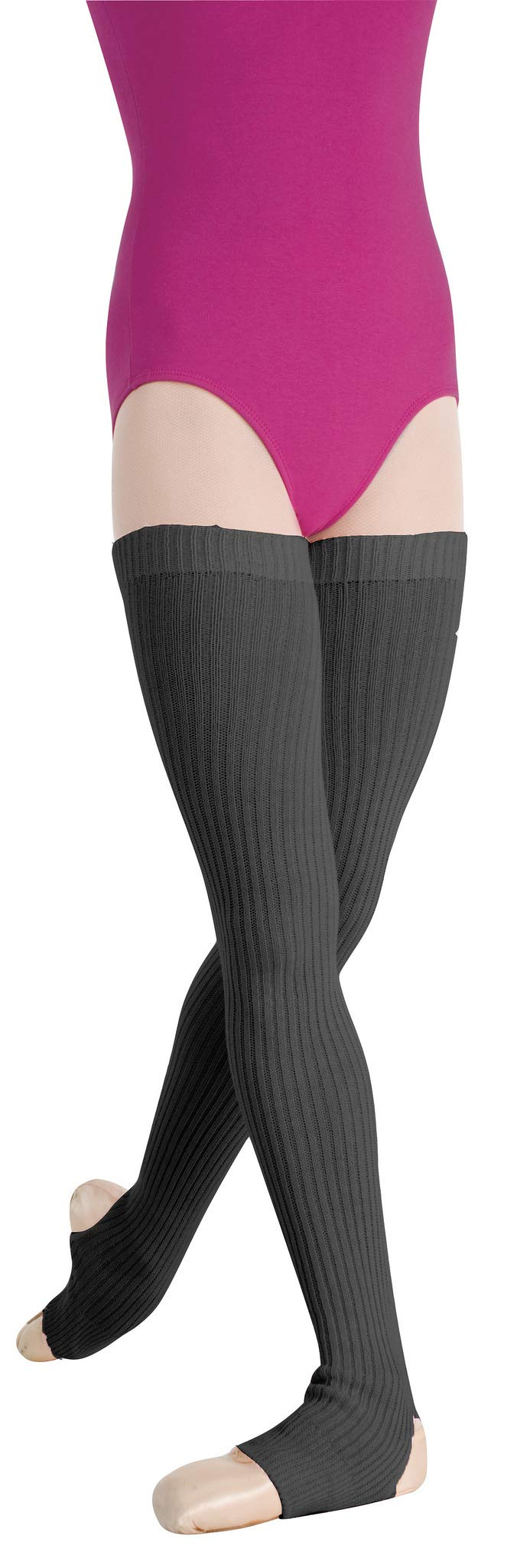 Body Wrappers 36'' Charcoal Grey Stirrup Thigh High Leg Warmers - 94
