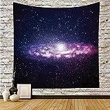 Polyester Tapestry Wall Hanging,Galaxy,Nebula Cloud in Milky Way Infinity in Interstellar Solar System Design Print,Purple Dark Blue,Wall Decor for Bedroom Living Room Dorm