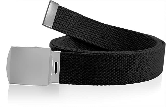 Nice Shades 56 quot  Military Style Canvas Web Belt w  Silver Roller Buckle  Black f8c2f08c8f9