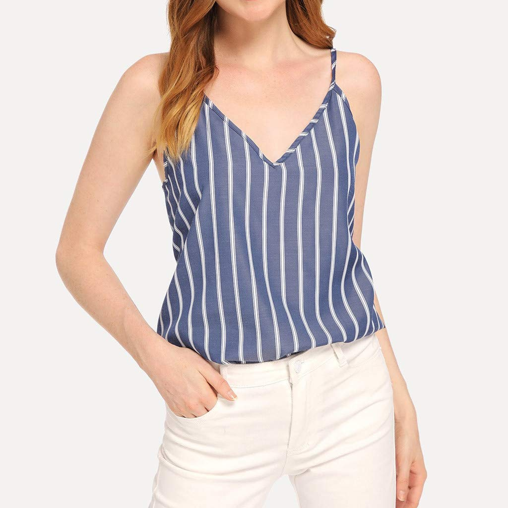 b8a072b03321 Yucode Women V-Neck Striped Sleeveless Tank Tops Shirt Summer Casual Blouse  Fashion Loose Camisole Top at Amazon Women's Clothing store: