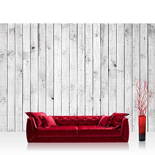 Vlies Fototapete 350x245 cm PREMIUM PLUS Wand Foto Tapete Wand Bild Vliestapete - WHITE PAINTED WOODEN WALL - Holzoptik Holzwand, HolzPanel, weißes Holz - no. 085