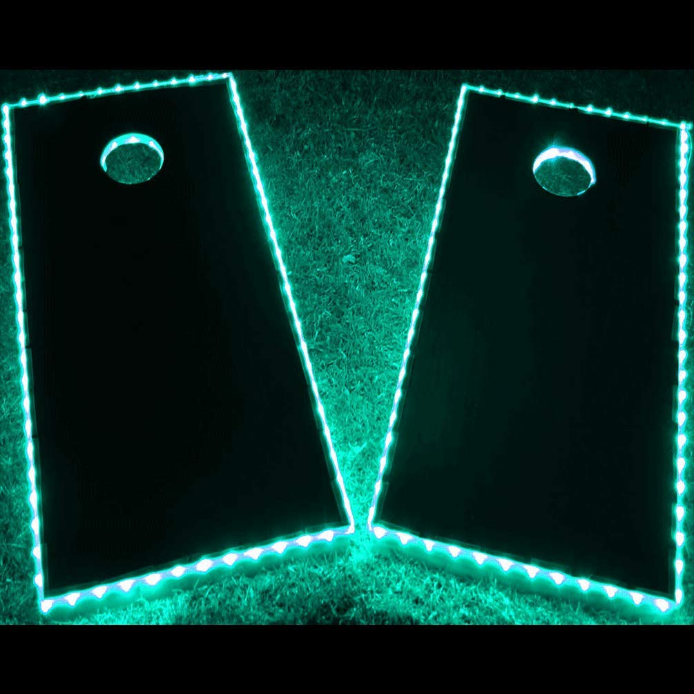 GlowCity LED Cornhole Board Lights - Ultra Bright Lights for Corn Hole and Board, Fits 2 x Boards - Waterproof and Durable Cable Ideal for Family Outdoor Games or Backyard Glow in The Dark Fun (Aqua) by GlowCity