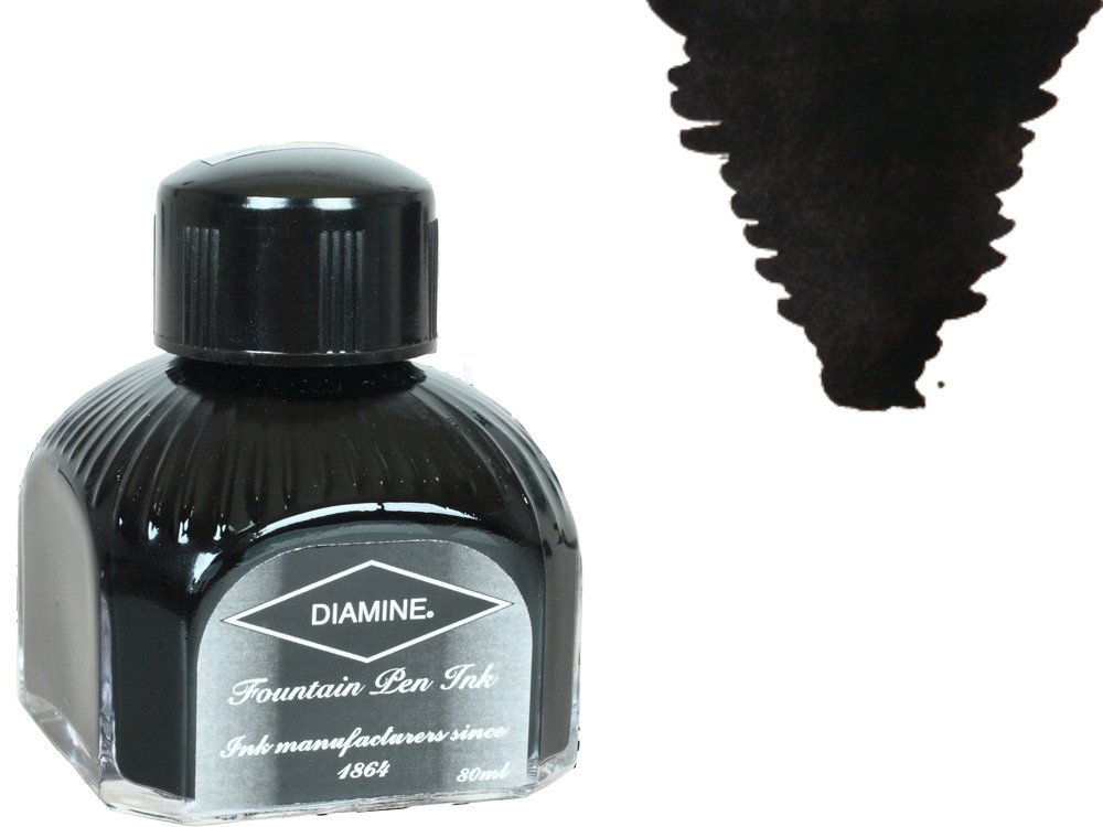Diamine 80ml Jet Black fountain pen ink bottle