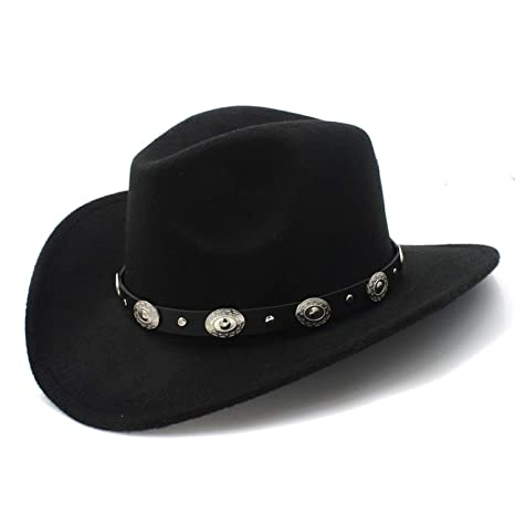 70a65047b29 HEWPASKE 100% Wool Felt Kid Child Western Cowboy Hat with Wide Brim Punk  Leather Belt Jazz Cap (Size 54cm Adjust Rope) at Amazon Women s Clothing  store