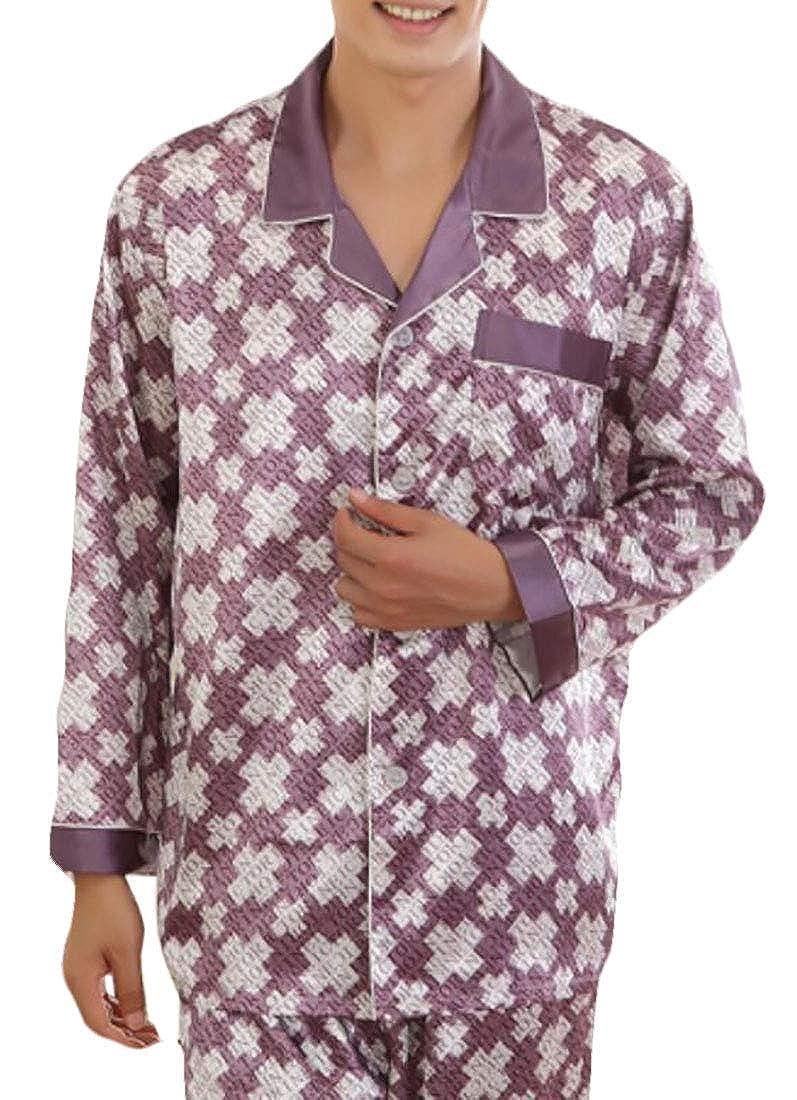 BU2H Men Notched Lapel Satin Print Pajamas Set Sleepwear 2 Pieces
