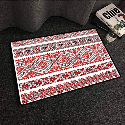Entrance Door mat Art Traditional Ukrainian Borders Frames Ornaments Old Fashioned Cultural Motifs All Season General W31 xL47 Vermilion Black White
