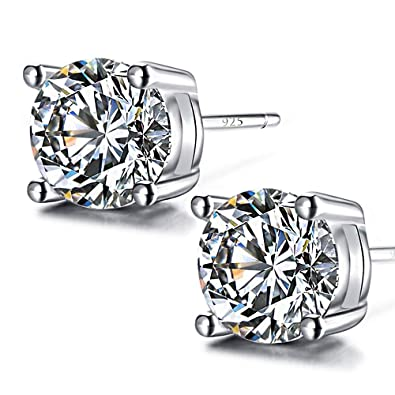 23ecb3014 Image Unavailable. Image not available for. Color: 925 Sterling Silver Stud  Earrings, 5mm Round ...