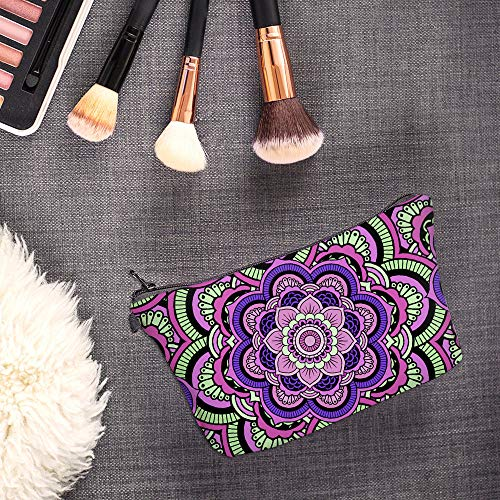 Cosmetic Bag for Women,Deanfun Mandala Flowers Waterproof Makeup Bags Roomy Toiletry Pouch Travel Accessories Gifts (51466)