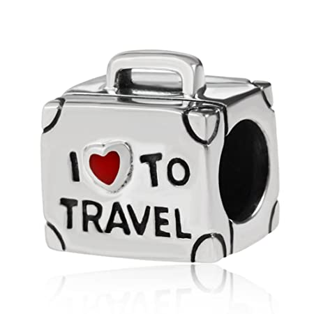 I Love to Travel Suitcase Charm Bead 100% Geunine 925 Sterling Silver Red Heart Bag Chams Fit European Charms Bracelet un3EuINd