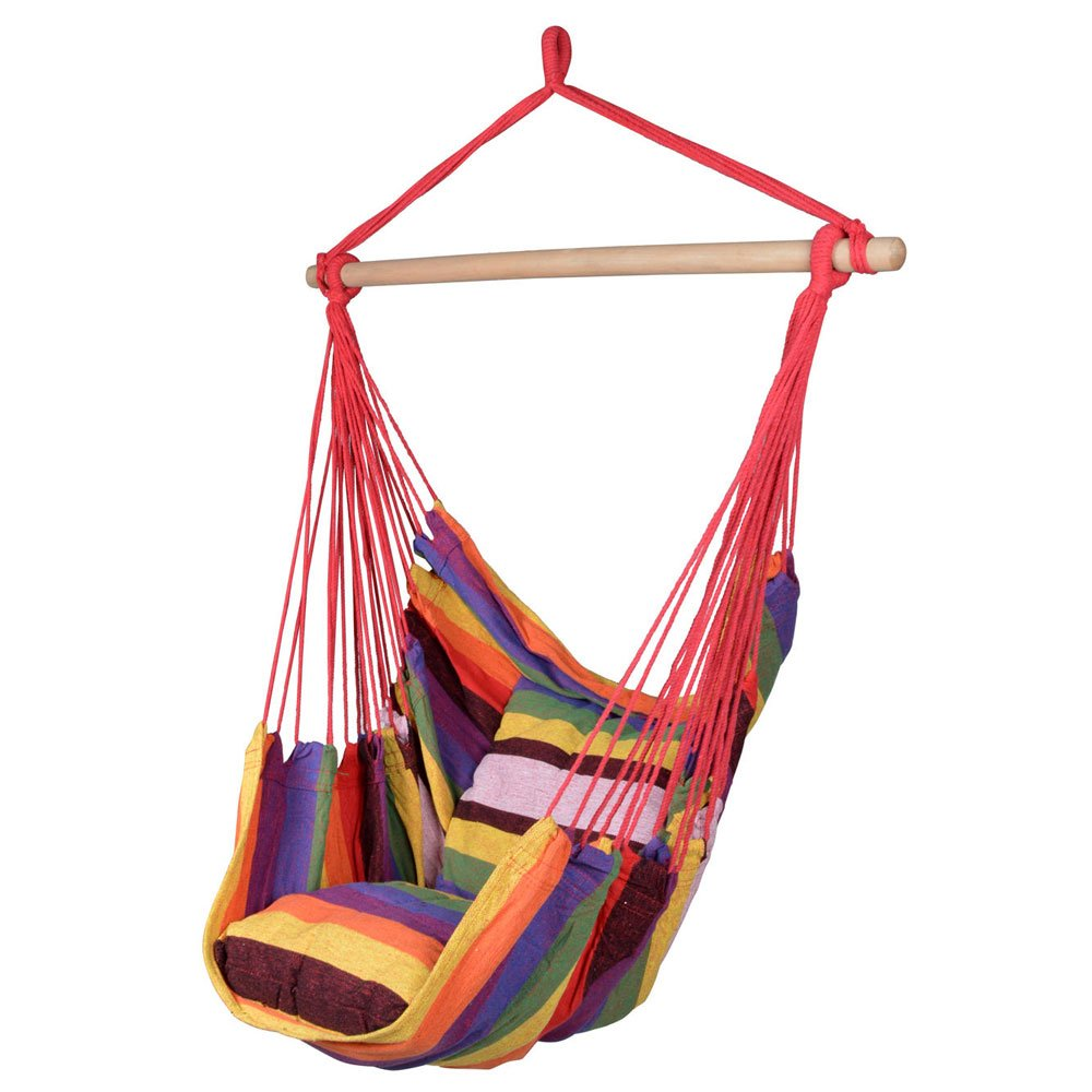 Candora Distinctive Cotton Canvas Hanging Rope Chair with Pillows Rainbow