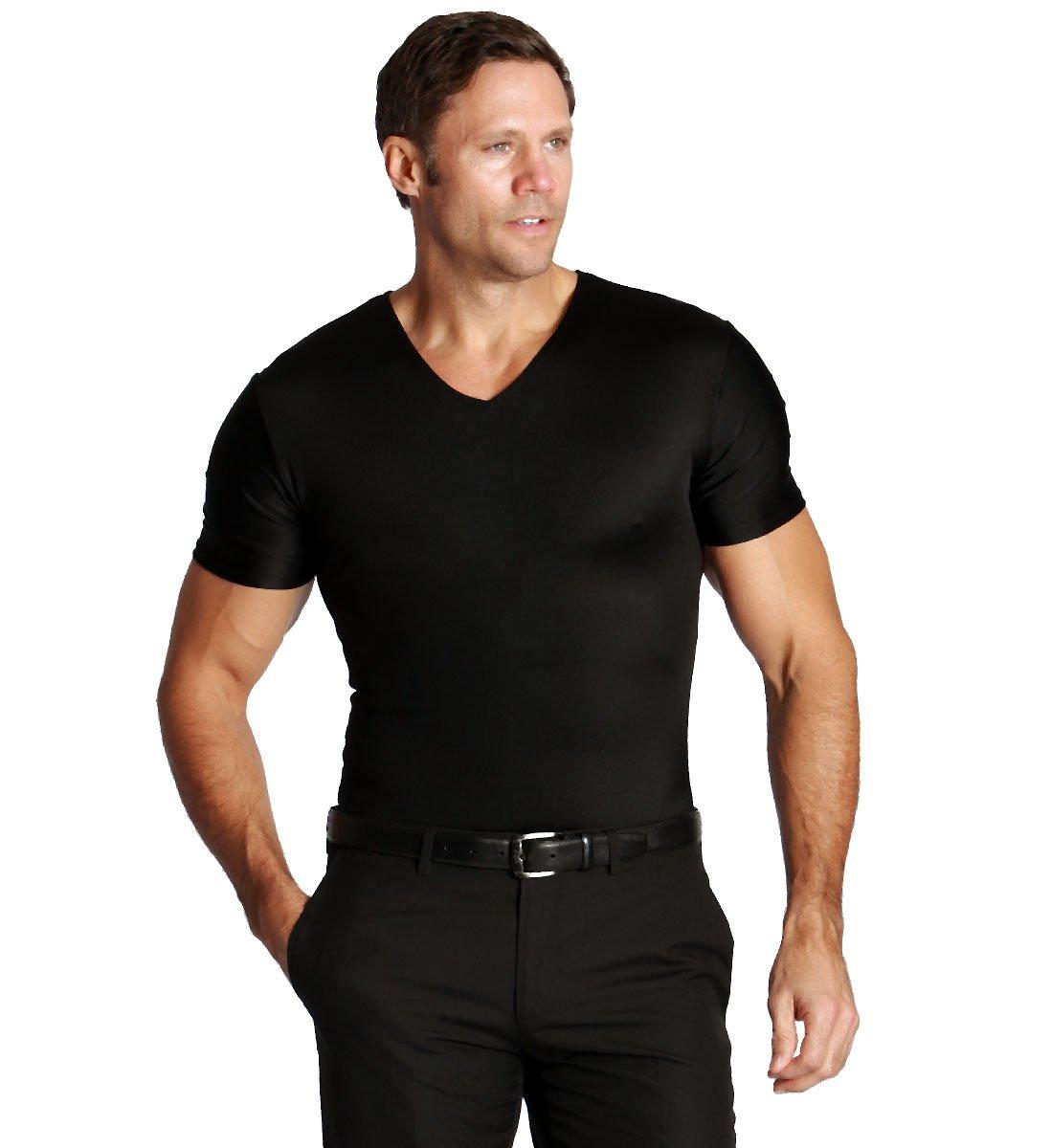 Insta Slim Mens Nylon Shapewear T Shirt (Black, S)