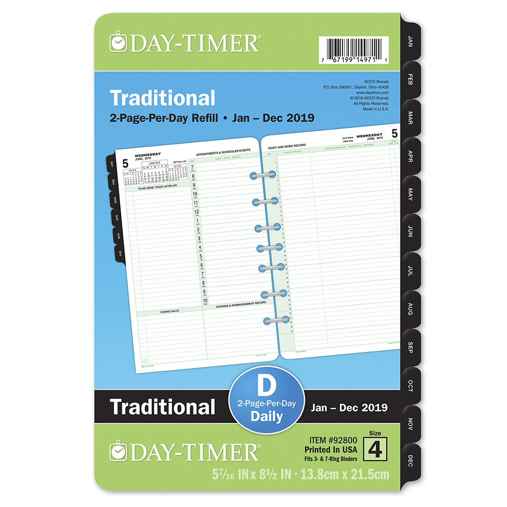 Day-Timer 2019 Daily Planner Refill, 5-1/2 x 8-1/2, Desk Size 4, Loose Leaf, Two Pages Per Day (92800) 5-1/2 x 8-1/2 ACCO Brands 928001901