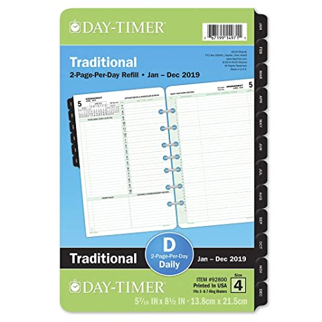 amazon com day timer 2019 daily planner refill 5 1 2 x 8 1 2