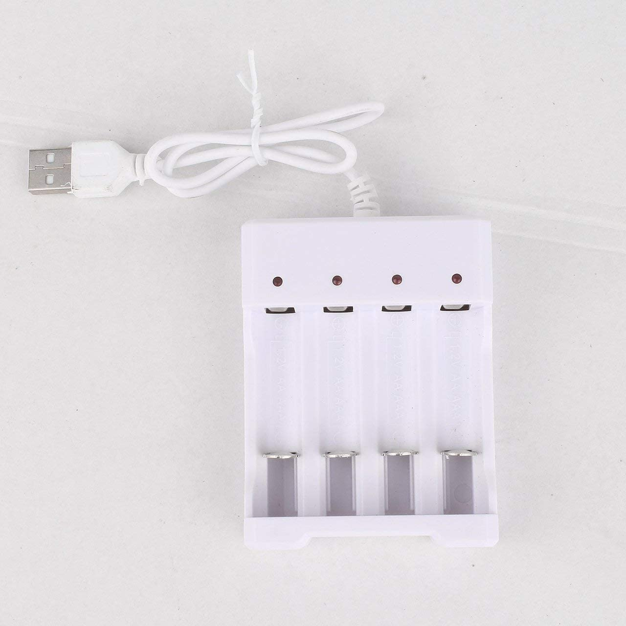 white Jasnyfall Battery Charger For AA AAA Batteries 4 Ports Battery Charger With USB Plug Universal Power Tool Accessories
