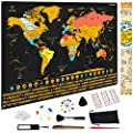 Fox Ramble Scratch off Map of the World - Enjoy, Track and Share Your Travel Adventures. Large Wall Poster 17x24, Printed with Flags, Landmarks and Wonders. Best Gifting Idea
