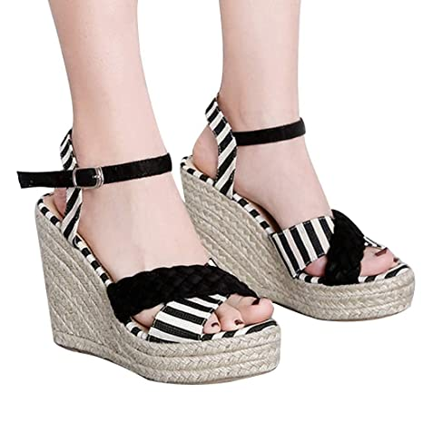 abf4d11723d Image Unavailable. Image not available for. Color: Hopwin Women High Heels  Wedge Shoes ...