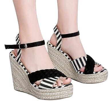 ab678dd4cf696e refulgence Women Platform High Heels Sandals Wedge Pumps Woven Hemp Loop Summer  Shoes(Black