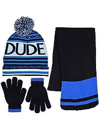 Polar Wear Boy's 3 Piece Knit Hat, Scarf & Gloves Set in 4 Fun Designs