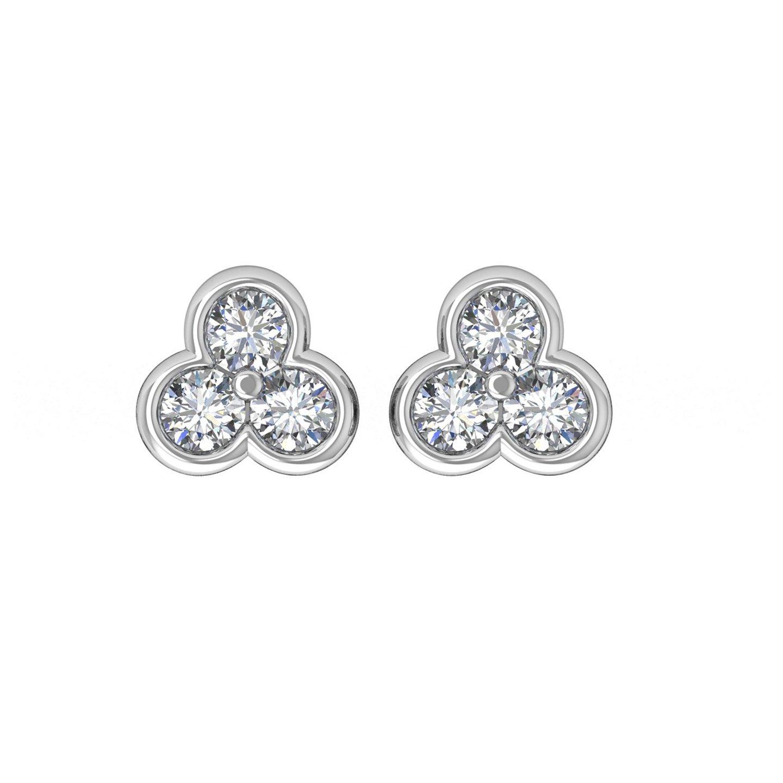 14k White Gold 3 Stone Diamond Stud Earrings 0.14 Carat to 1 3 Carat – IGI Certified