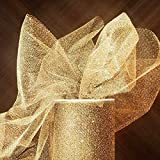Sparkling Tulle Ribbon Rolls - 25 Yards - 6 Inches Wide (SPARKLING - Gold)
