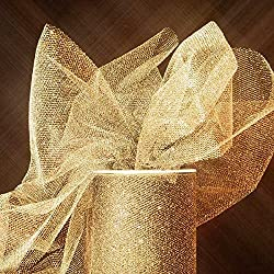 "Colored Gold Sparkling Tulle Roll 6"" X 25yd - Fabric by Paper Mart"